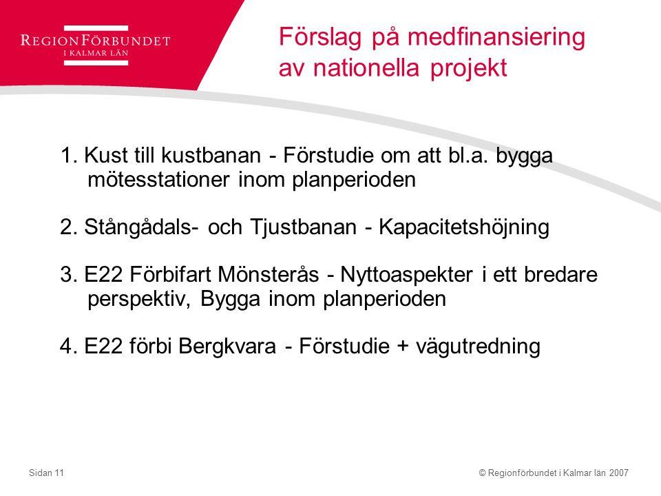 © Regionförbundet i Kalmar län 2007Sidan 11 Förslag på medfinansiering av nationella projekt 1.