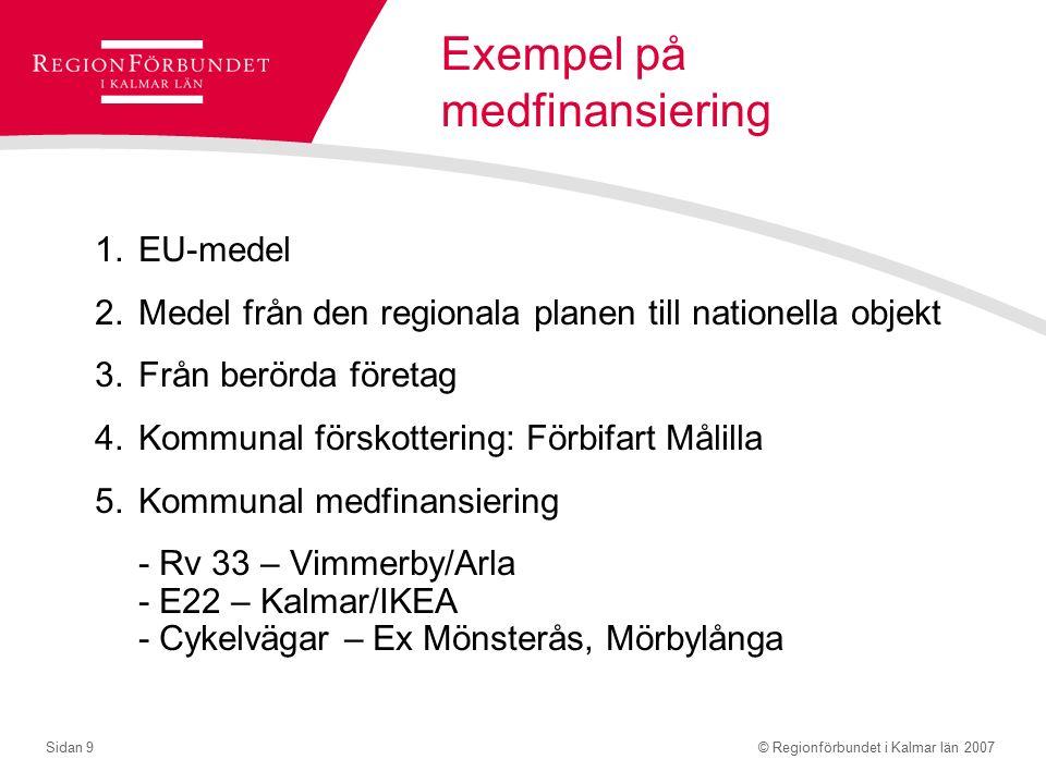© Regionförbundet i Kalmar län 2007Sidan 9 Exempel på medfinansiering 1.EU-medel 2.Medel från den regionala planen till nationella objekt 3.Från berörda företag 4.Kommunal förskottering: Förbifart Målilla 5.Kommunal medfinansiering - Rv 33 – Vimmerby/Arla - E22 – Kalmar/IKEA - Cykelvägar – Ex Mönsterås, Mörbylånga