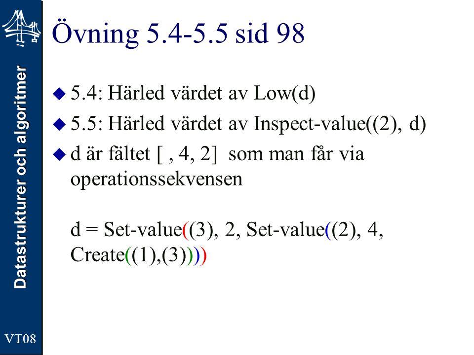 Datastrukturer och algoritmer VT08 Övning 5.4-5.5 sid 98  5.4: Härled värdet av Low(d)  5.5: Härled värdet av Inspect-value((2), d)  d är fältet [,
