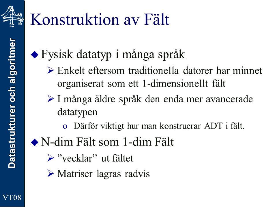 Datastrukturer och algoritmer VT08 Konstruktion av Fält  Fysisk datatyp i många språk  Enkelt eftersom traditionella datorer har minnet organiserat