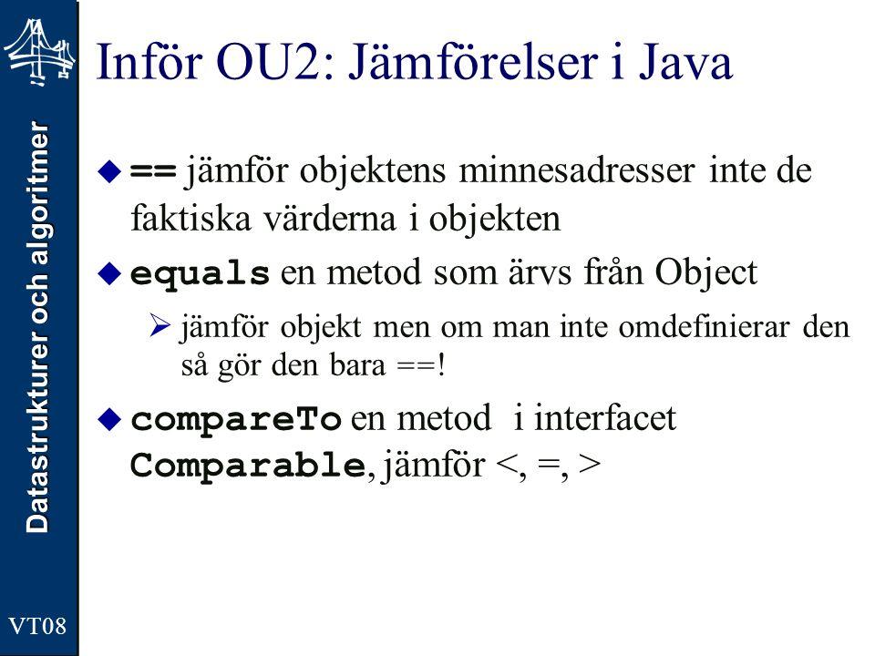 Datastrukturer och algoritmer VT08 Inför OU2: Jämförelser i Java  == jämför objektens minnesadresser inte de faktiska värderna i objekten  equals en