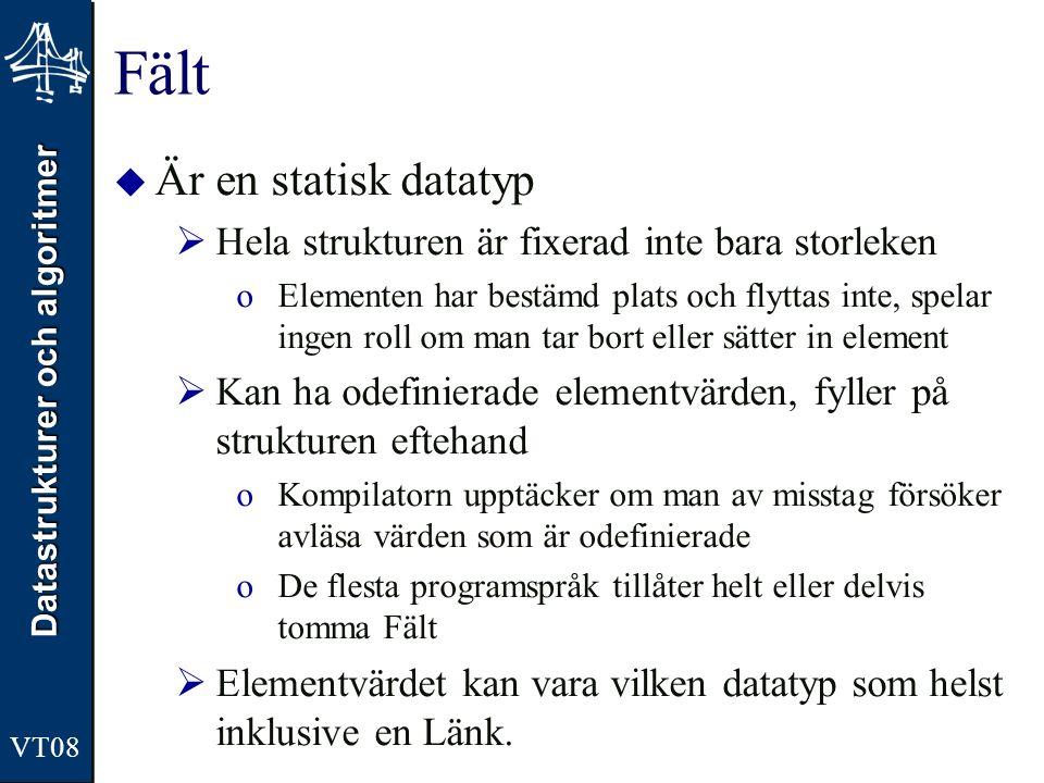 Datastrukturer och algoritmer VT08 Fält  Är en statisk datatyp  Hela strukturen är fixerad inte bara storleken oElementen har bestämd plats och flyt