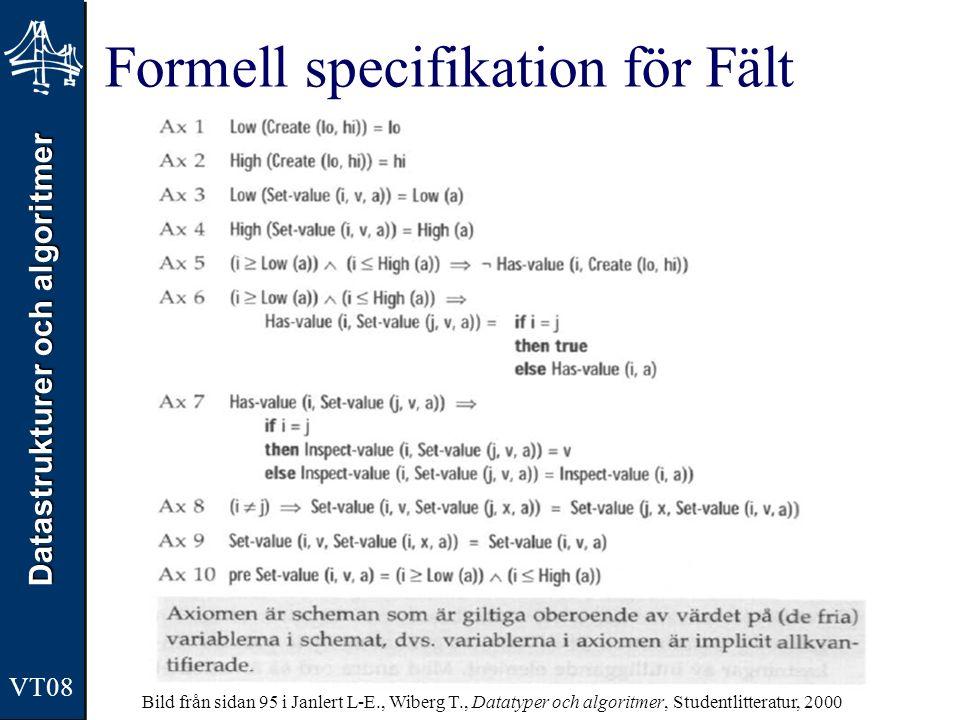 Datastrukturer och algoritmer VT08 Formell specifikation för Fält Bild från sidan 95 i Janlert L-E., Wiberg T., Datatyper och algoritmer, Studentlitte