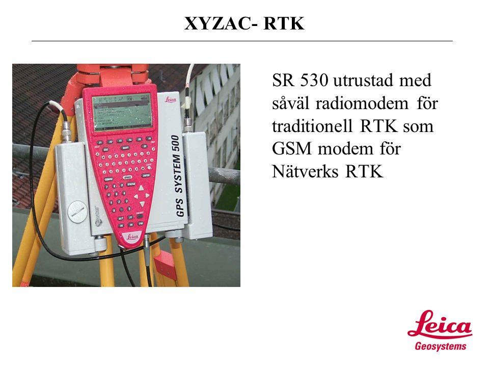 Text XYZAC- RTK SR 530 utrustad med såväl radiomodem för traditionell RTK som GSM modem för Nätverks RTK