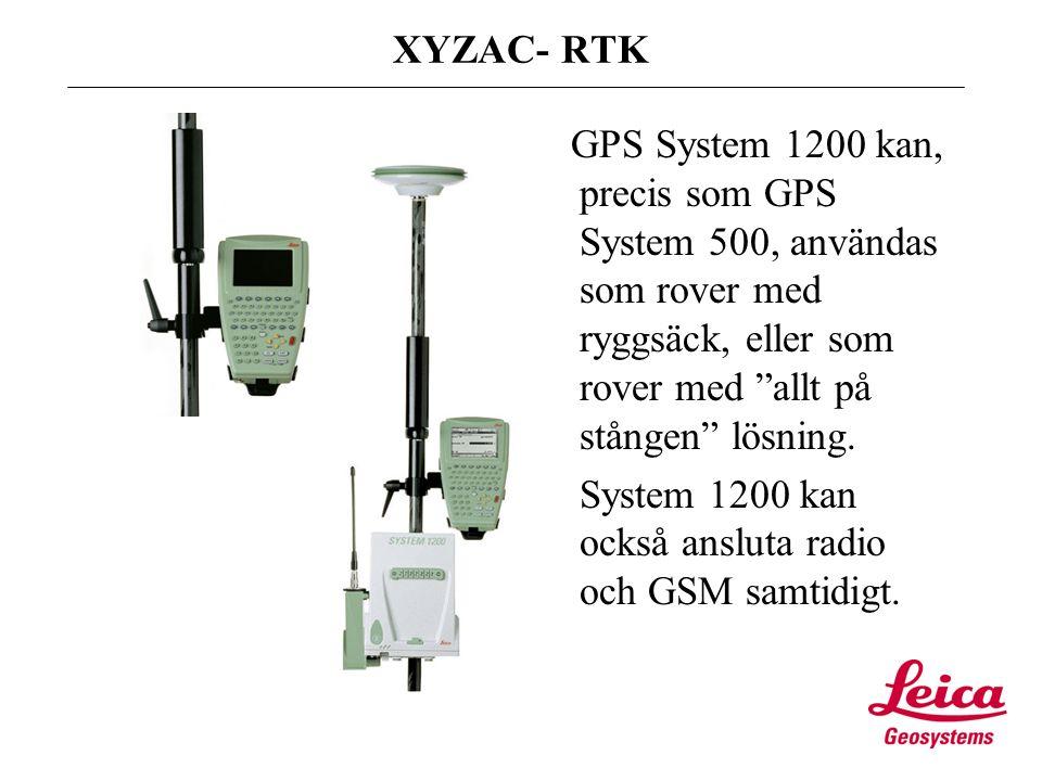 Text XYZAC- RTK GPS System 1200 kan, precis som GPS System 500, användas som rover med ryggsäck, eller som rover med allt på stången lösning.