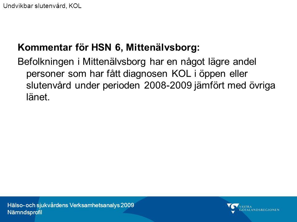 Hälso- och sjukvårdens Verksamhetsanalys 2009 Nämndsprofil Kommentar för HSN 6, Mittenälvsborg: Befolkningen i Mittenälvsborg har en något lägre andel personer som har fått diagnosen KOL i öppen eller slutenvård under perioden 2008-2009 jämfört med övriga länet.
