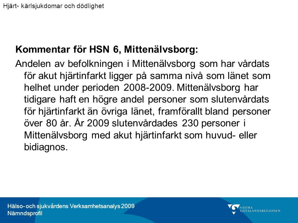 Hälso- och sjukvårdens Verksamhetsanalys 2009 Nämndsprofil Kommentar för HSN 6, Mittenälvsborg: Andelen av befolkningen i Mittenälvsborg som har vårdats för akut hjärtinfarkt ligger på samma nivå som länet som helhet under perioden 2008-2009.