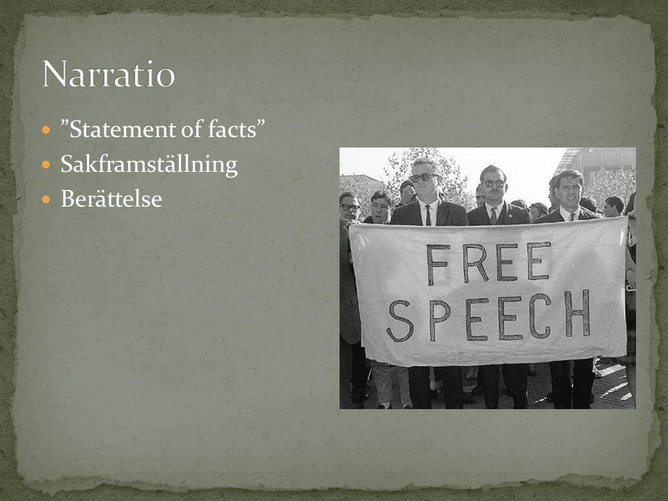 Statement of facts Sakframställning Berättelse