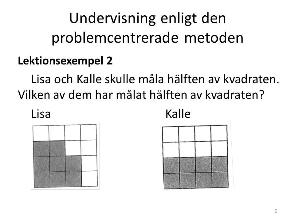 Undervisning enligt den problemcentrerade metoden Lektionsexempel 2 Lisa och Kalle skulle måla hälften av kvadraten. Vilken av dem har målat hälften a