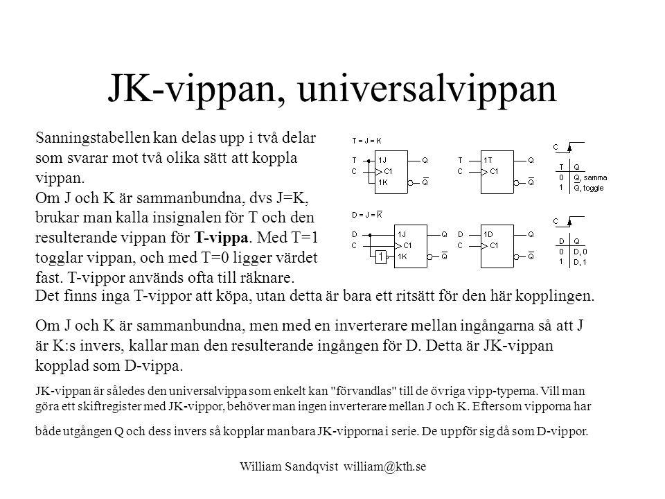 William Sandqvist william@kth.se JK-vippan, universalvippan Sanningstabellen kan delas upp i två delar som svarar mot två olika sätt att koppla vippan