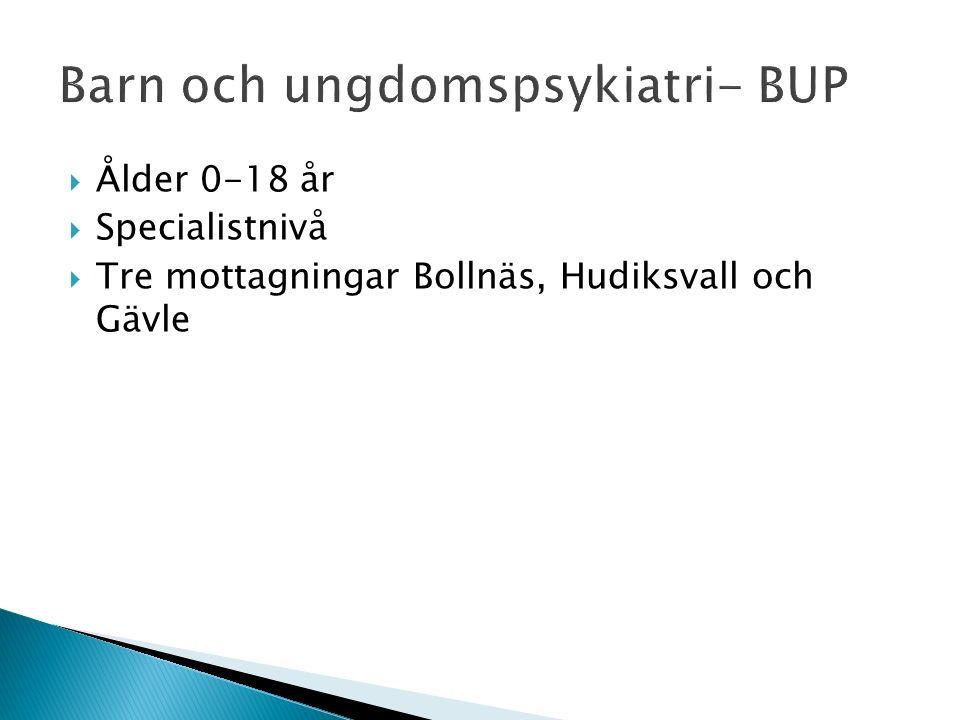  Ålder 0-18 år  Specialistnivå  Tre mottagningar Bollnäs, Hudiksvall och Gävle