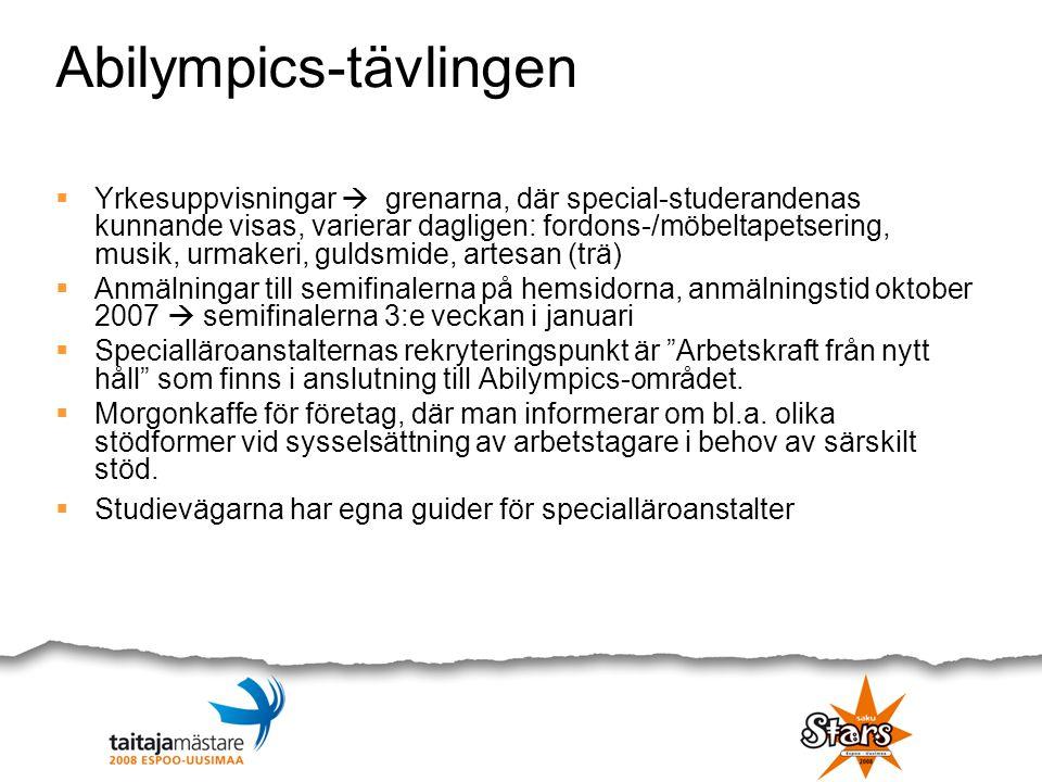 Abilympics-tävlingen  Yrkesuppvisningar  grenarna, där special-studerandenas kunnande visas, varierar dagligen: fordons-/möbeltapetsering, musik, ur