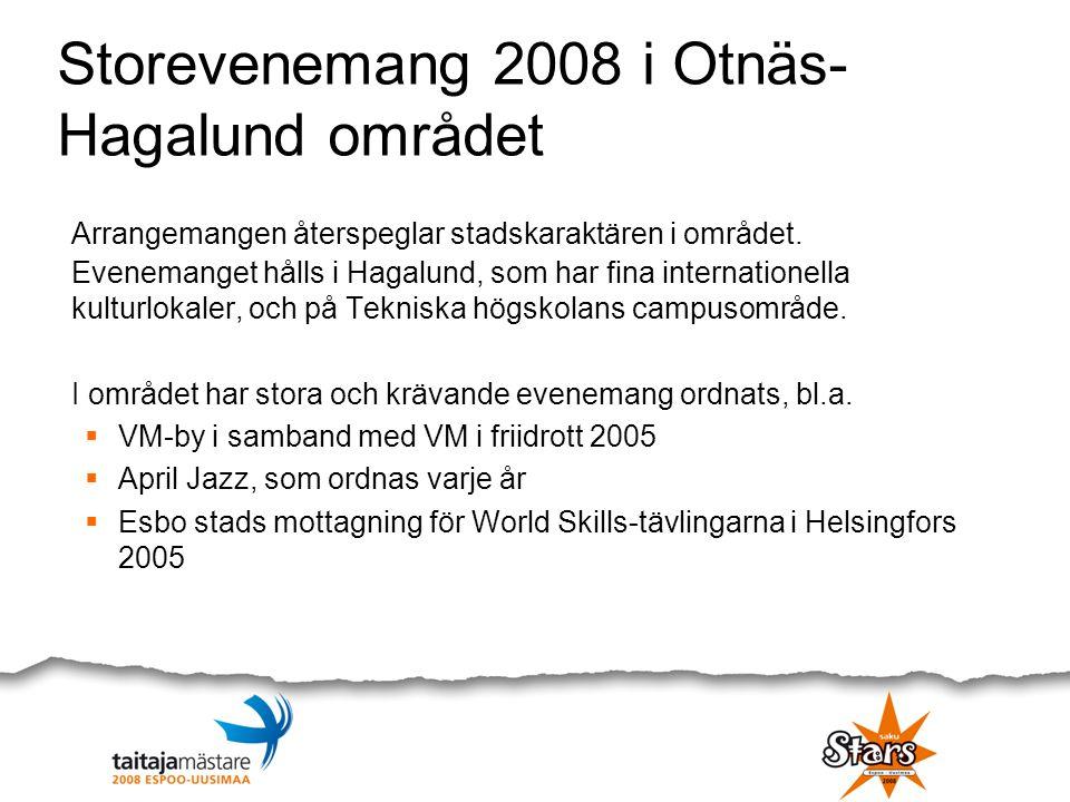 Storevenemang 2008 i Otnäs- Hagalund området Arrangemangen återspeglar stadskaraktären i området. Evenemanget hålls i Hagalund, som har fina internati