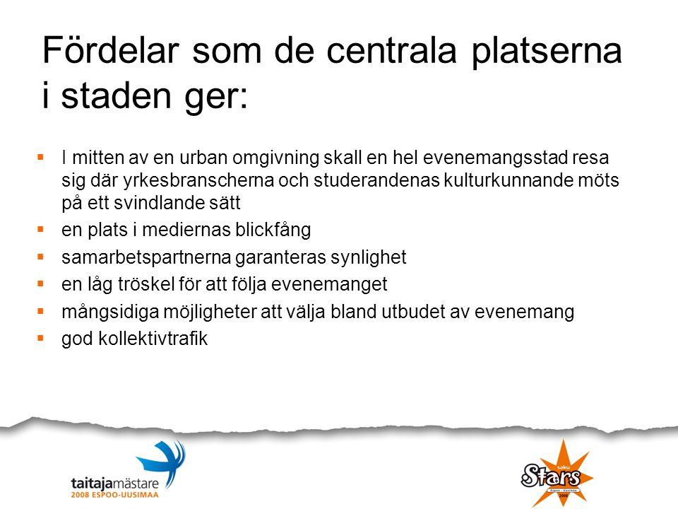 Fördelar som de centrala platserna i staden ger:  I mitten av en urban omgivning skall en hel evenemangsstad resa sig där yrkesbranscherna och studer