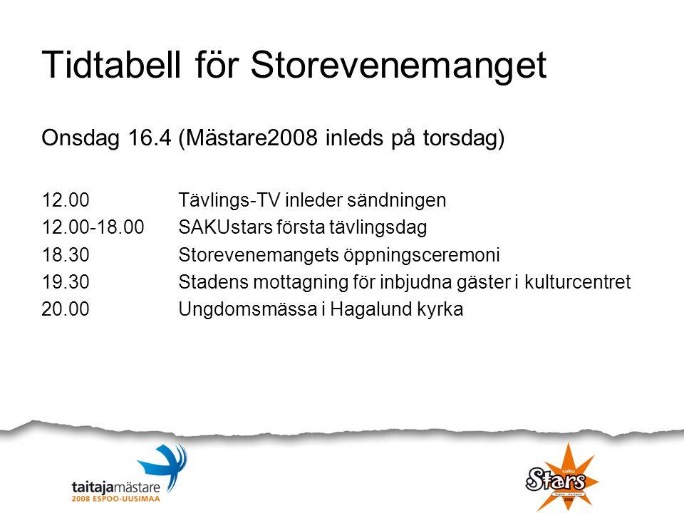 Tidtabell för Storevenemanget Onsdag 16.4 (Mästare2008 inleds på torsdag) 12.00 Tävlings-TV inleder sändningen 12.00-18.00SAKUstars första tävlingsdag