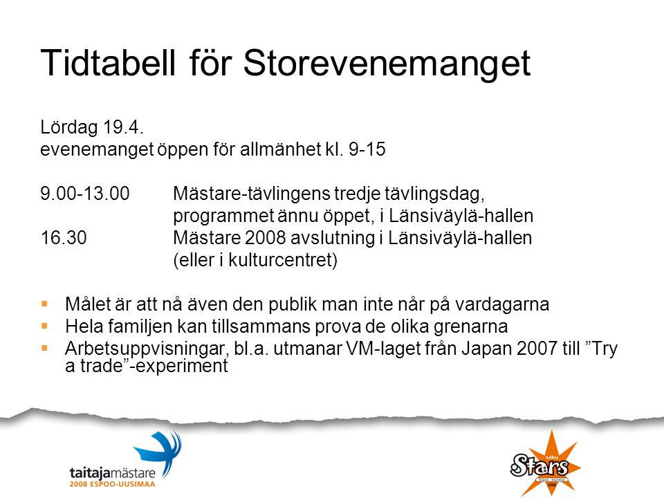 Tidtabell för Storevenemanget Lördag 19.4. evenemanget öppen för allmänhet kl. 9-15 9.00-13.00Mästare-tävlingens tredje tävlingsdag, programmet ännu ö
