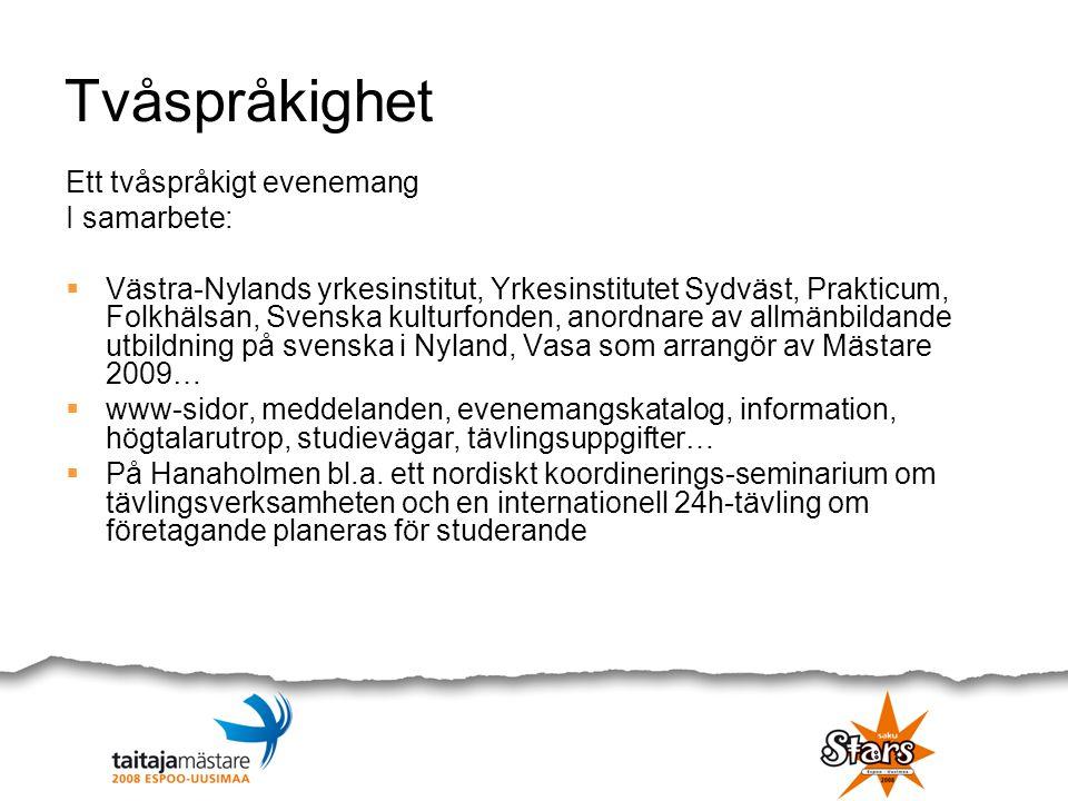Tvåspråkighet Ett tvåspråkigt evenemang I samarbete:  Västra-Nylands yrkesinstitut, Yrkesinstitutet Sydväst, Prakticum, Folkhälsan, Svenska kulturfon