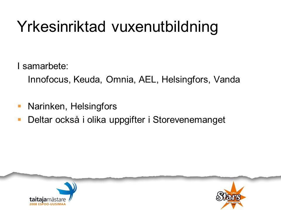 Yrkesinriktad vuxenutbildning I samarbete: Innofocus, Keuda, Omnia, AEL, Helsingfors, Vanda  Narinken, Helsingfors  Deltar också i olika uppgifter i