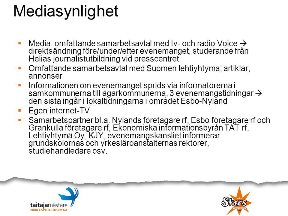 Mediasynlighet  Media: omfattande samarbetsavtal med tv- och radio Voice  direktsändning före/under/efter evenemanget, studerande från Helias journa