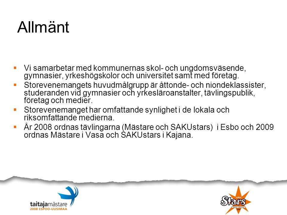 Hagalund Kulturcentrum SakuStars: Musik Scenkonst Utställningar Kavalkad Avslutning Mästare: Musikteknologi Evenemang-arena: Öppningsceremoni SakuStars dansserier Mästare 9 Mästare 2008 avslutning