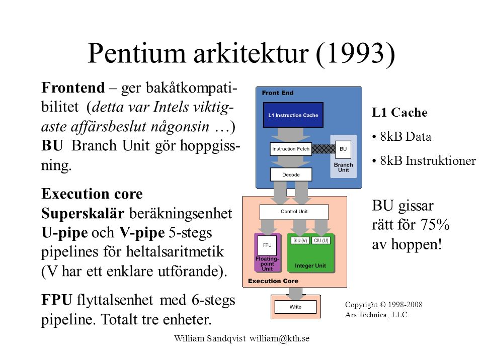 William Sandqvist william@kth.se Pentium arkitektur (1993) Frontend – ger bakåtkompati- bilitet (detta var Intels viktig- aste affärsbeslut någonsin …) BU Branch Unit gör hoppgiss- ning.