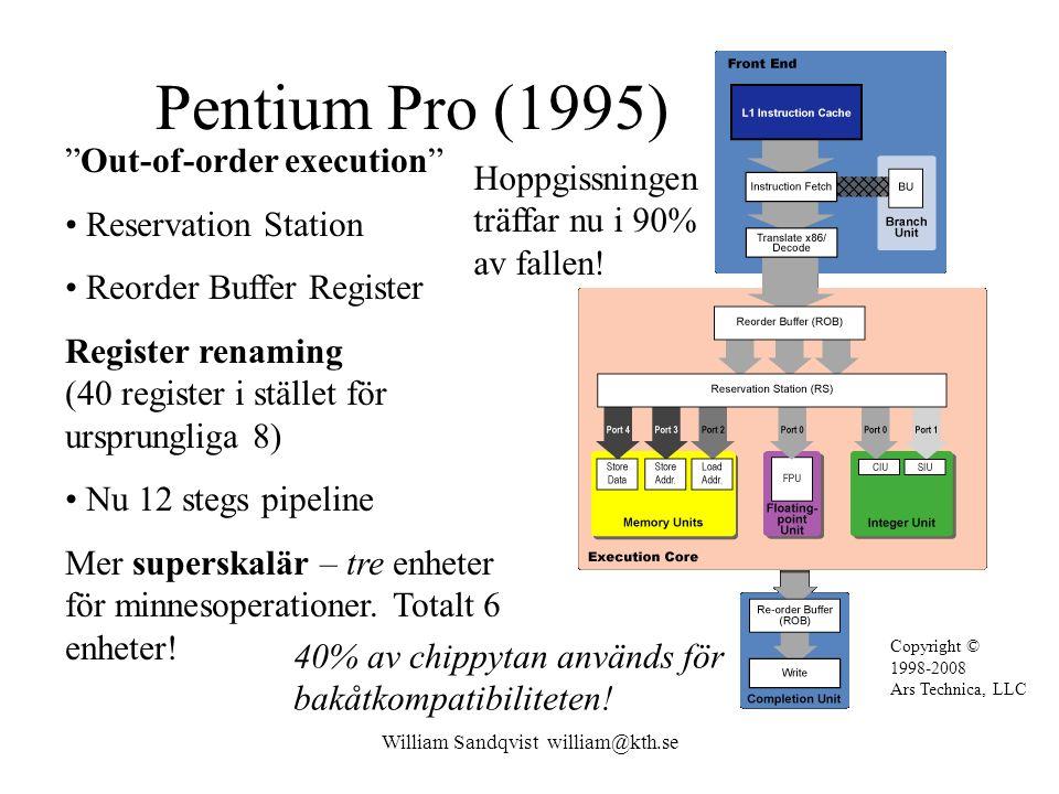 William Sandqvist william@kth.se Två nivåers hoppgissning Pentium Pro har lång pipeline och måste därför kunna gissa hoppen ändå bättre.