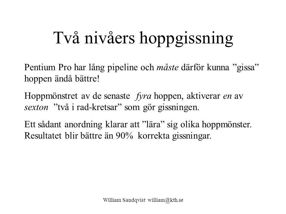 William Sandqvist william@kth.se Principschema Två nivåers hopp-gissning bygger på ett skiftregister, en avkodare, och 16 st två i rad sekvensnät.
