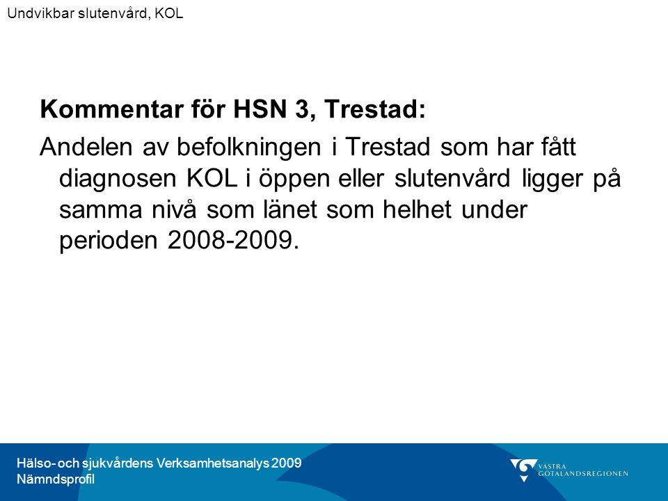 Hälso- och sjukvårdens Verksamhetsanalys 2009 Nämndsprofil Kommentar för HSN 3, Trestad: Andelen av befolkningen i Trestad som har fått diagnosen KOL i öppen eller slutenvård ligger på samma nivå som länet som helhet under perioden 2008-2009.