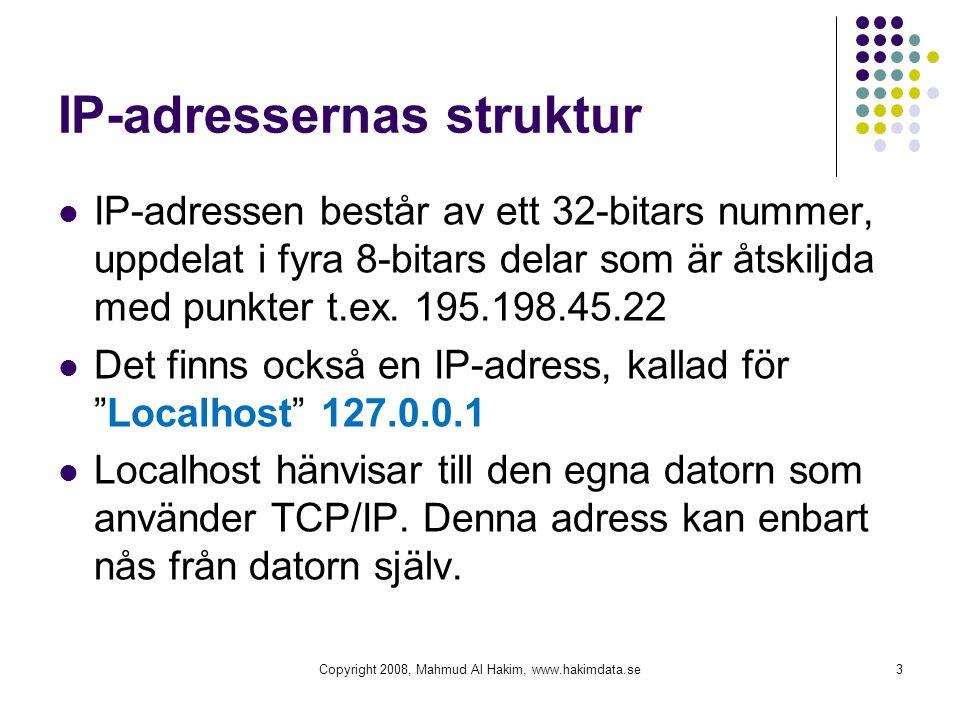 DNS (Domain Name System) När en människa söker en adress till en webbsida, används oftast inte IP-adresser utan ett domännamn (DNS-adress).