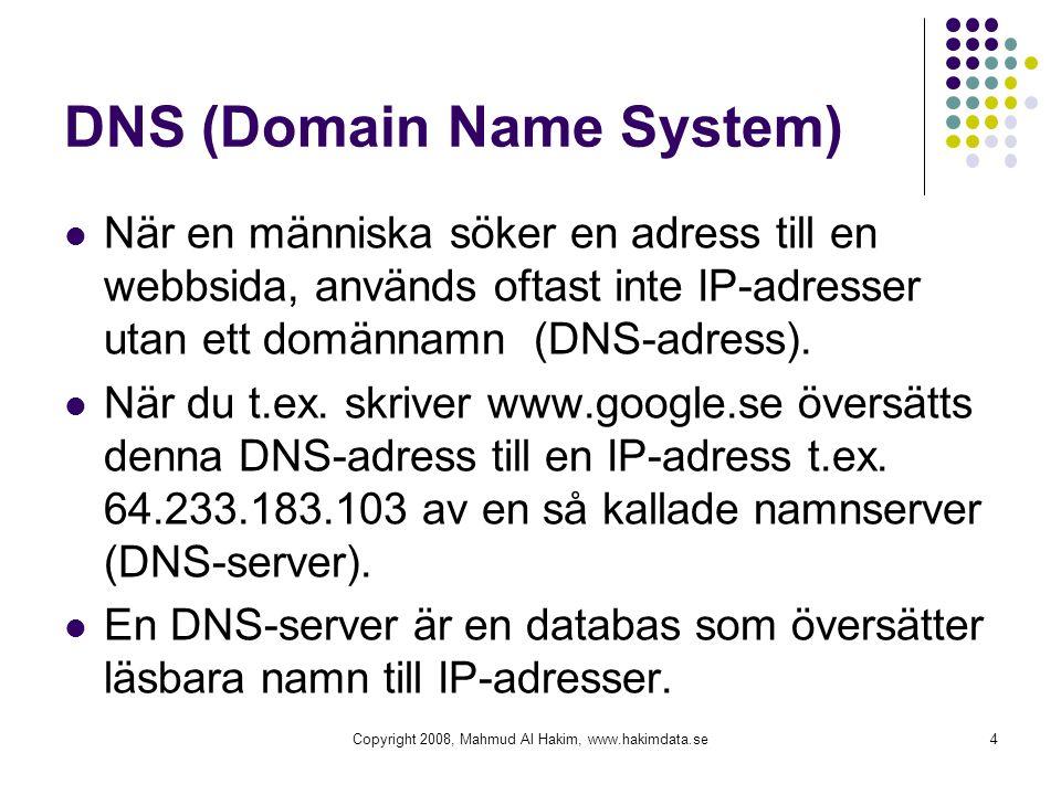 DNS (Domain Name System) När en människa söker en adress till en webbsida, används oftast inte IP-adresser utan ett domännamn (DNS-adress). När du t.e