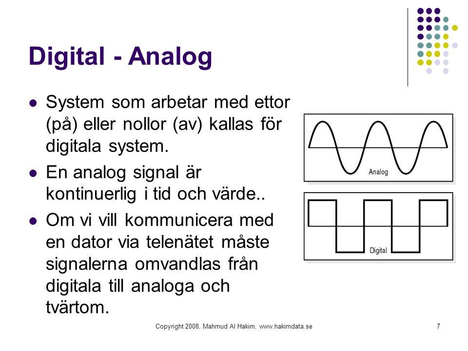 Digital - Analog System som arbetar med ettor (på) eller nollor (av) kallas för digitala system. En analog signal är kontinuerlig i tid och värde.. Om