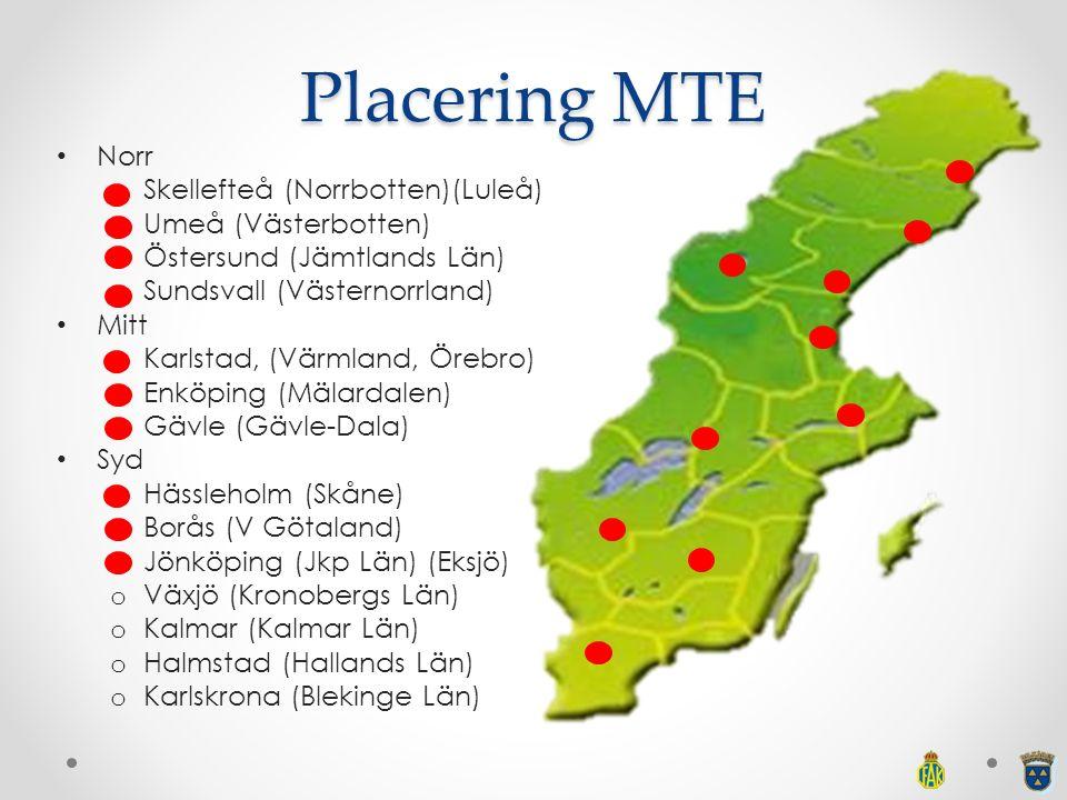 Placering MTE Norr o Skellefteå (Norrbotten)(Luleå) o Umeå (Västerbotten) o Östersund (Jämtlands Län) o Sundsvall (Västernorrland) Mitt o Karlstad, (V