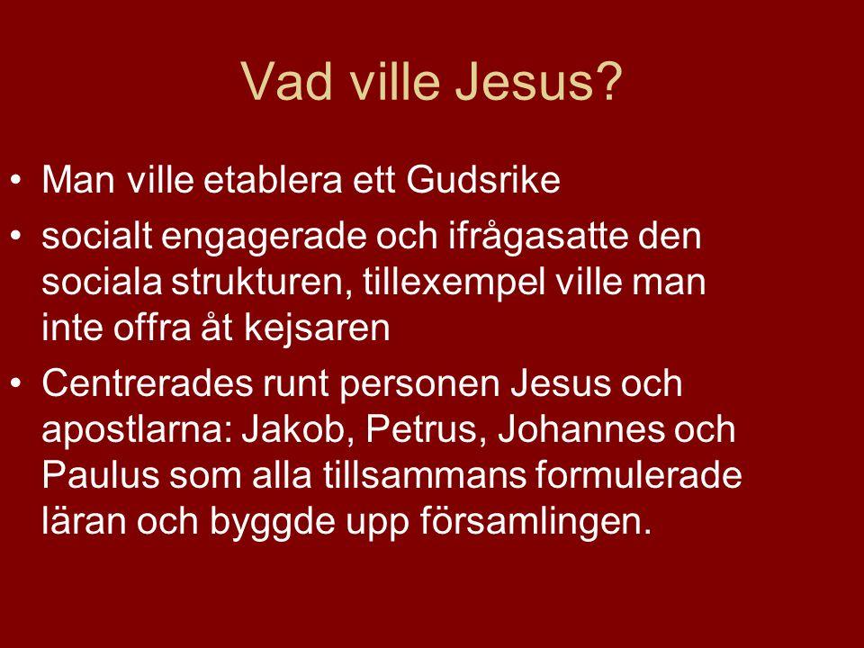 Vad ville Jesus? Man ville etablera ett Gudsrike socialt engagerade och ifrågasatte den sociala strukturen, tillexempel ville man inte offra åt kejsar