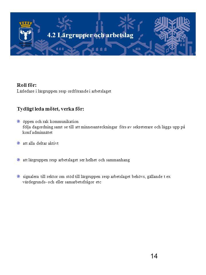 14 Utvecklingsgruppen Roll för: Lärledare i lärgruppen resp ordförande i arbetslaget Tydligt leda mötet, verka för: öppen och rak kommunikation följa