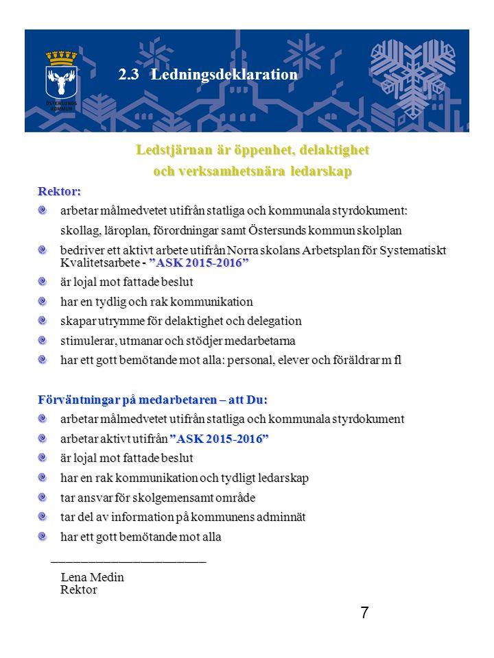 7 Ledstjärnan är öppenhet, delaktighet och verksamhetsnära ledarskap Rektor: arbetar målmedvetet utifrån statliga och kommunala styrdokument: skollag, läroplan, förordningar samt Östersunds kommun skolplan skollag, läroplan, förordningar samt Östersunds kommun skolplan bedriver ett aktivt arbete utifrån Norra skolans Arbetsplan för Systematiskt Kvalitetsarbete - ASK 2015-2016 är lojal mot fattade beslut har en tydlig och rak kommunikation skapar utrymme för delaktighet och delegation stimulerar, utmanar och stödjer medarbetarna har ett gott bemötande mot alla: personal, elever och föräldrar m fl Förväntningar på medarbetaren – att Du: arbetar målmedvetet utifrån statliga och kommunala styrdokument arbetar aktivt utifrån ASK 2015-2016 är lojal mot fattade beslut har en rak kommunikation och tydligt ledarskap tar ansvar för skolgemensamt område tar del av information på kommunens adminnät har ett gott bemötande mot alla _____________________ _____________________ Lena Medin Rektor Lena Medin Rektor 2.3Ledningsdeklaration