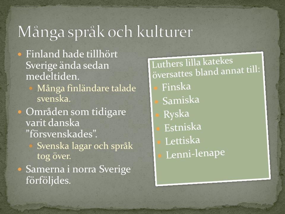 """Finland hade tillhört Sverige ända sedan medeltiden. Många finländare talade svenska. Områden som tidigare varit danska """"försvenskades"""". Svenska lagar"""