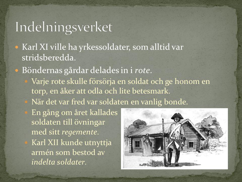 Karl XI ville ha yrkessoldater, som alltid var stridsberedda. Böndernas gårdar delades in i rote. Varje rote skulle försörja en soldat och ge honom en