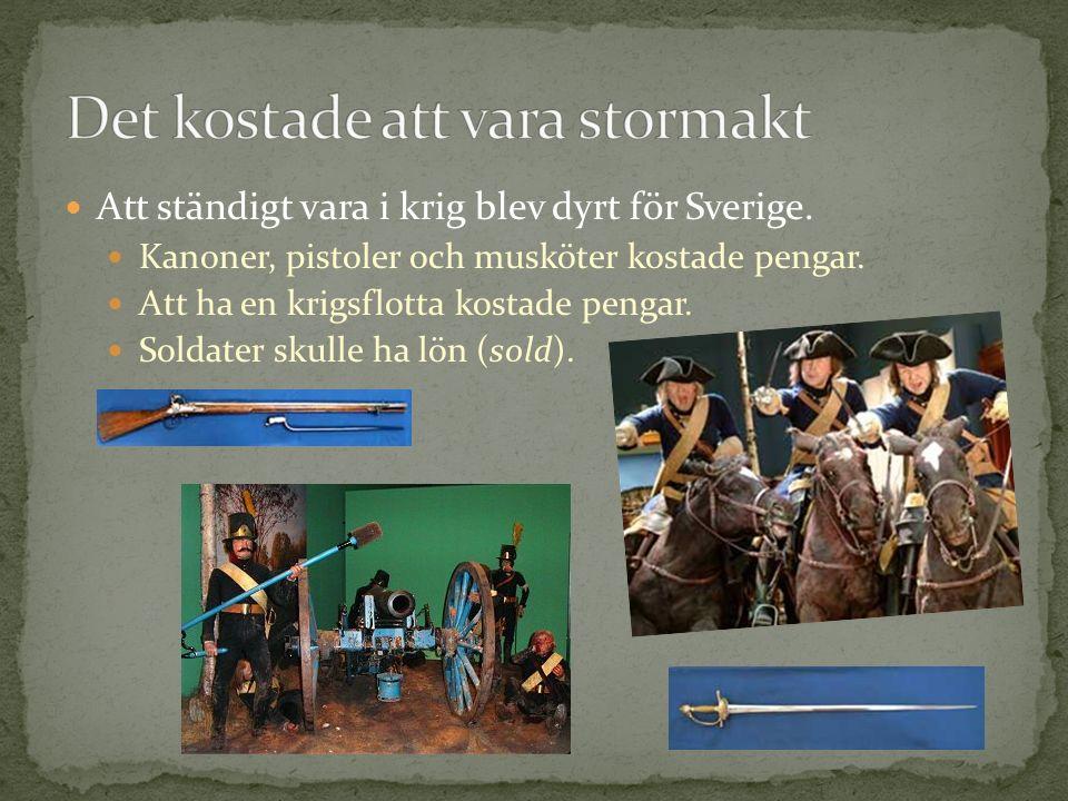 Att ständigt vara i krig blev dyrt för Sverige. Kanoner, pistoler och musköter kostade pengar. Att ha en krigsflotta kostade pengar. Soldater skulle h