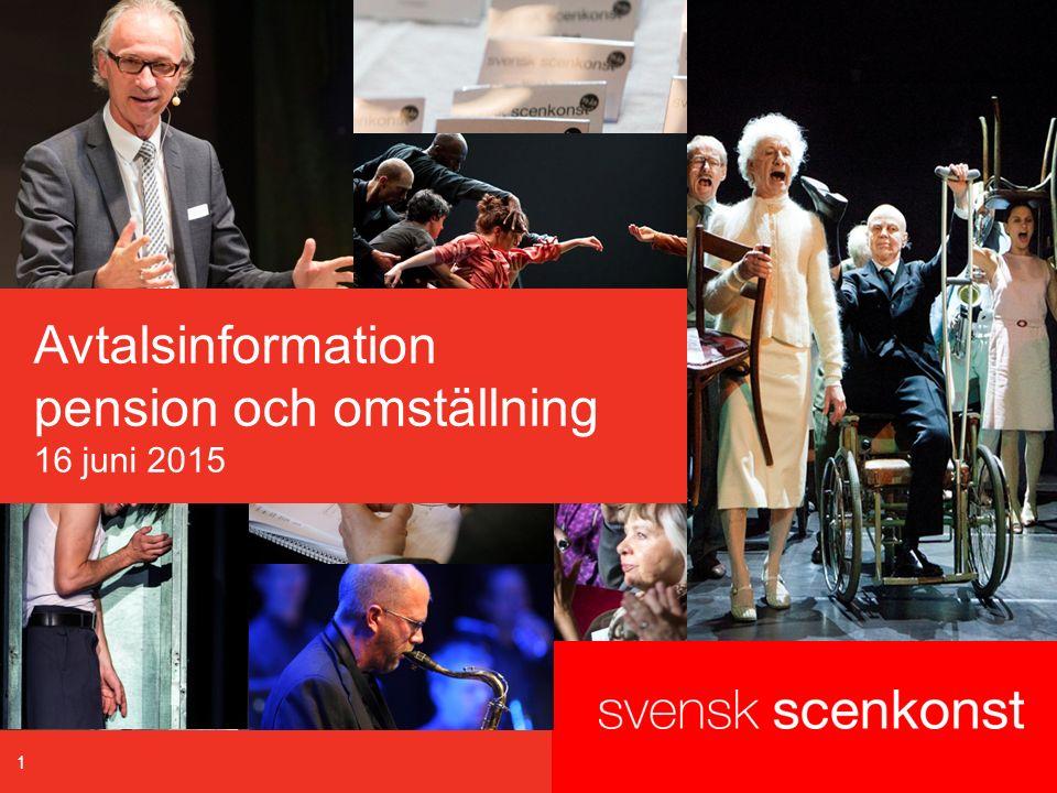 Program 16 juni 2015  Systemskiftet – översikt (Svensk Scenkonst)  Pensionsavtalet – praktiska frågor (Collectum/SvS)  Bensträckare 5 minuter  Omställningsavtalet – lägesrapport (SvS)  SOK-stiftelsen – samarbete med TRS (TRS) 2