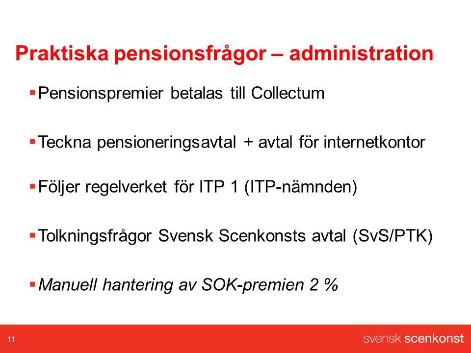 Praktiska pensionsfrågor – administration  Pensionspremier betalas till Collectum  Teckna pensioneringsavtal + avtal för internetkontor  Följer regelverket för ITP 1 (ITP-nämnden)  Tolkningsfrågor Svensk Scenkonsts avtal (SvS/PTK)  Manuell hantering av SOK-premien 2 % 11