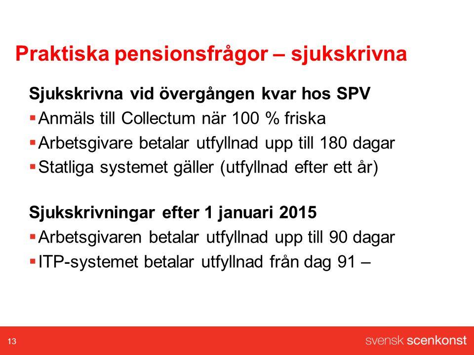 Praktiska pensionsfrågor – sjukskrivna Sjukskrivna vid övergången kvar hos SPV  Anmäls till Collectum när 100 % friska  Arbetsgivare betalar utfyllnad upp till 180 dagar  Statliga systemet gäller (utfyllnad efter ett år) Sjukskrivningar efter 1 januari 2015  Arbetsgivaren betalar utfyllnad upp till 90 dagar  ITP-systemet betalar utfyllnad från dag 91 – 13