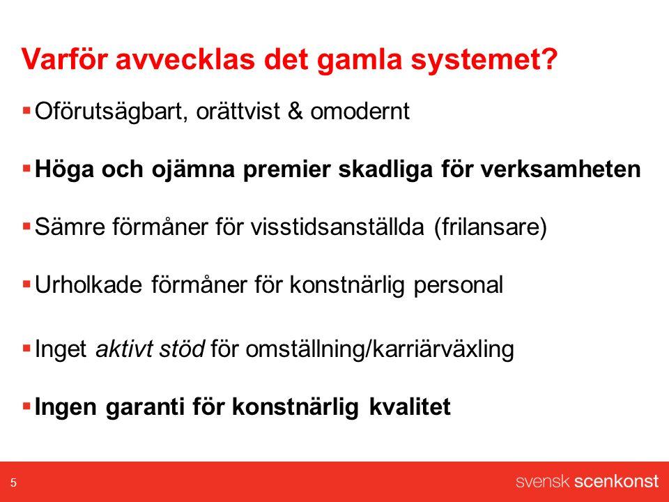 Fördelar med nya systemet  Lägre och mer förutsägbara kostnader för arbetsgivarna  Svensk standard på pensionsvillkor för alla anställda  Unikt omställningsstöd för konstnärliga grupper  Lika villkor för visstidsanställda/frilansare  Stöd för hög konstnärlig kvalitet inom scenkonsten 6