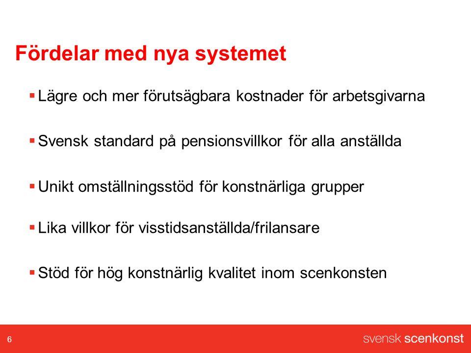 Kostnad för nya systemet Pensionsavtalet ITP 1 + sjukpension, premiebefrielse125 mkr Omställningsavtalet Omställningsavgifter/extra pensionspremie 46 mkr Lönehöjning för dansare: 8,6 mkr Totalkostnad nya systemet: 179,6 mkr Jfr tidigare system:300 mkr 7