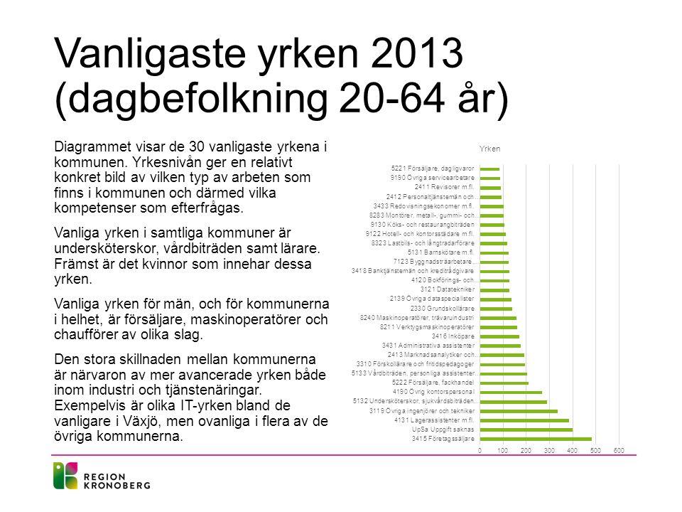 Vanligaste yrken 2013 (dagbefolkning 20-64 år) Diagrammet visar de 30 vanligaste yrkena i kommunen. Yrkesnivån ger en relativt konkret bild av vilken