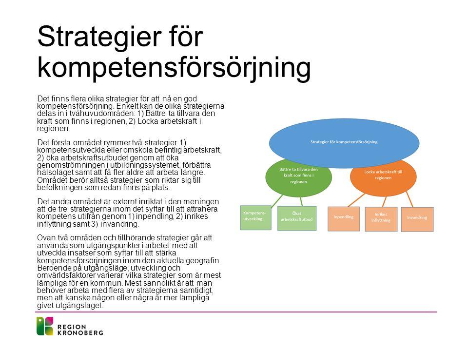 Strategier för kompetensförsörjning Det finns flera olika strategier för att nå en god kompetensförsörjning. Enkelt kan de olika strategierna delas in