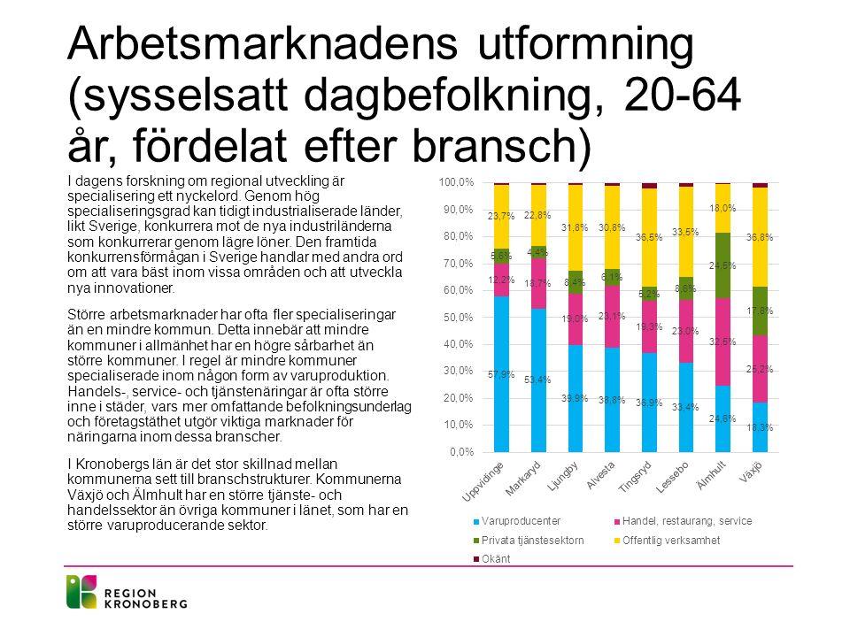 Arbetsmarknadens utformning (sysselsatt dagbefolkning, 20-64 år, fördelat efter bransch) I dagens forskning om regional utveckling är specialisering e