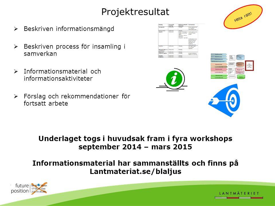 Projektresultat  Beskriven informationsmängd  Beskriven process för insamling i samverkan  Informationsmaterial och informationsaktiviteter  Förslag och rekommendationer för fortsatt arbete Hitta rätt.