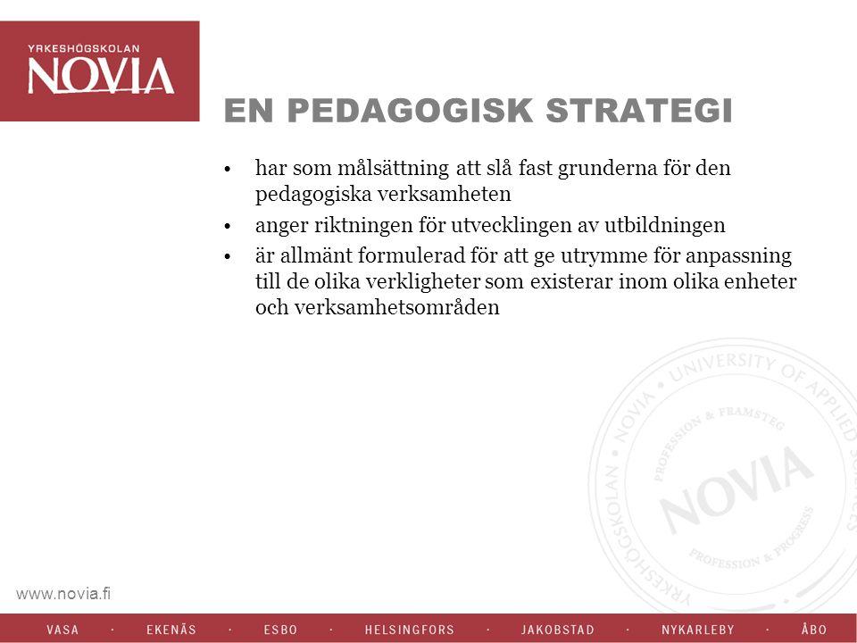 www.novia.fi EN PEDAGOGISK STRATEGI har som målsättning att slå fast grunderna för den pedagogiska verksamheten anger riktningen för utvecklingen av utbildningen är allmänt formulerad för att ge utrymme för anpassning till de olika verkligheter som existerar inom olika enheter och verksamhetsområden