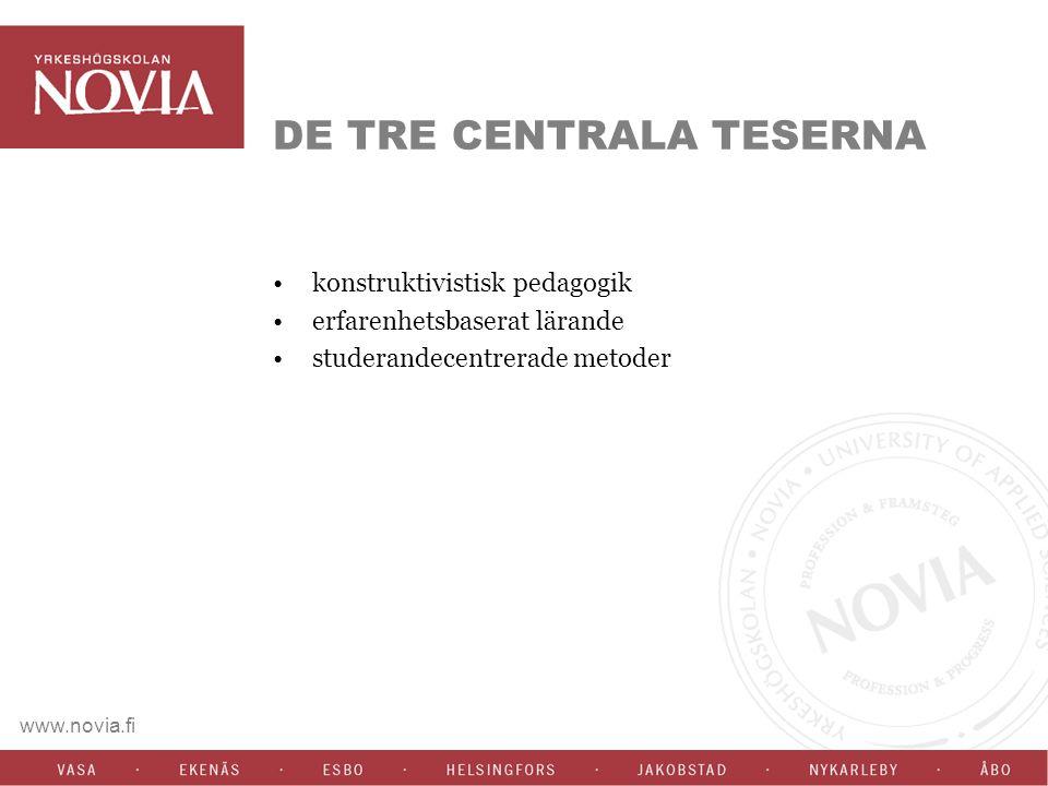 www.novia.fi DE TRE CENTRALA TESERNA konstruktivistisk pedagogik erfarenhetsbaserat lärande studerandecentrerade metoder