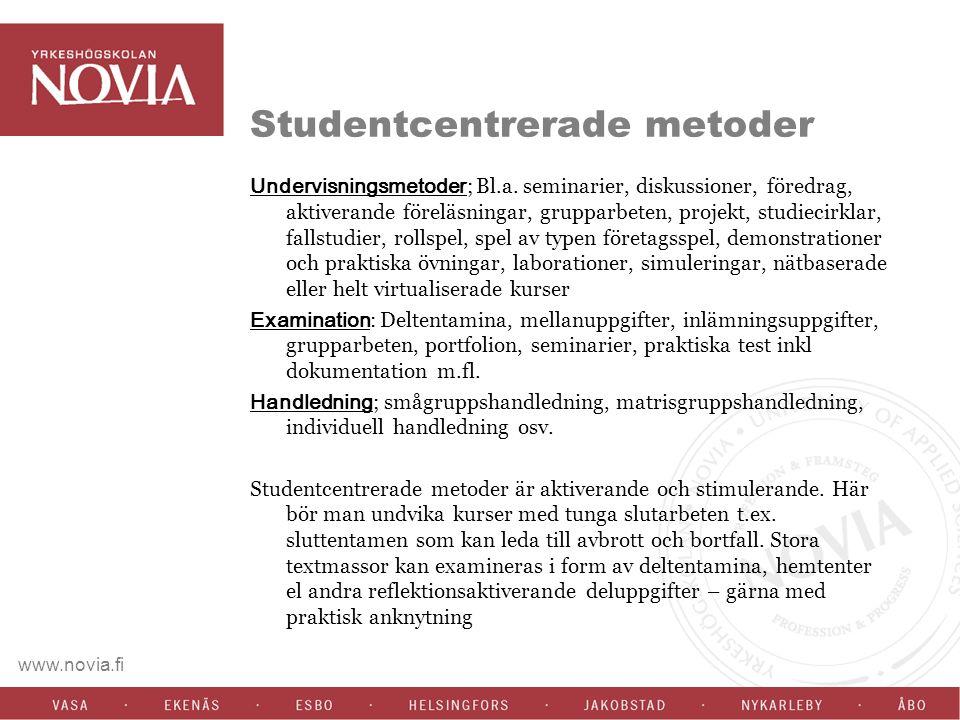 www.novia.fi Studentcentrerade metoder Undervisningsmetoder ; Bl.a.
